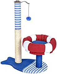 Mumoo Bear Cat Tree Condo Furniture Natural Sisal Cover, Navy