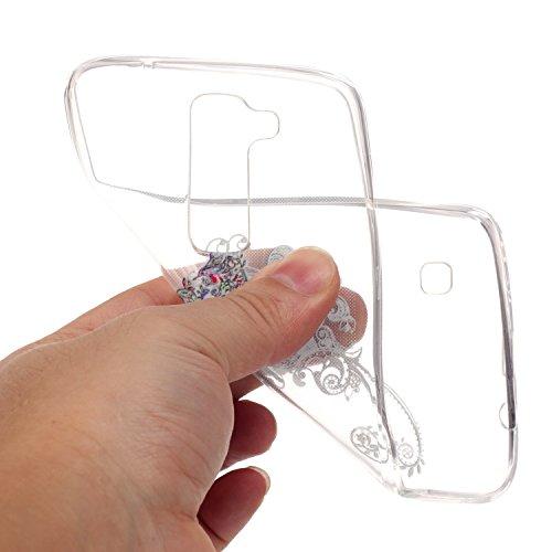 LG K7 Hülle,SainCat Silikon Hülle Tasche Handyhülle [Kratzfeste, Scratch-Resistant] TPU Gel Bumper Case Weiches Transparentes Silikon Schutzhülle Crystal Kirstall Clear Case Durchsichtig Malerei Muste Einzel Schmetterling