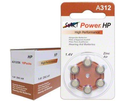 StartPower - 60 Batterien für Hörgeräte - Typ A312 - 1.4V - 160mAh - PR41