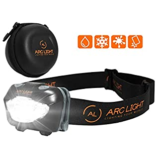ARC LIGHT LED Head Torch Headlamp for Running, Walking, Cycling at Night. Protective Hard Case Included. Water Resistant.