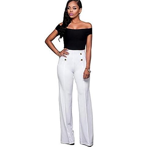 Byjia À Souhait Manches Courtes Féminines Tops Moulante Taille Haute Club Night Party Pantalon Blanc Et Noir Ensembles . M