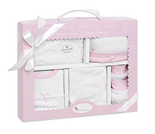 DIKOS Baby Erstausstattung für Neugeborene Mädchen Set 100% Baumwolle  Größe 50/56 0-3 Monate Erstlings-Ausstattung Kleidung Baby-Geschenke Geburt Babykleidung Strampler Newborn Starter Box Paket