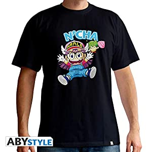 ABYstyle - Camiseta de Manga Corta para Hombre (Talla S), diseño de Arale y Gacchan, Color Negro
