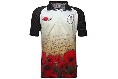 British Army - Maillot de Rugby Lettre à la Maison MC - Noir/Blanc/Rouge