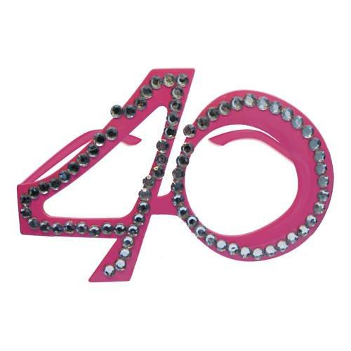 PARTY DISCOUNT Brille 40 pink mit Brillies