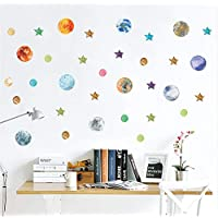 tonywu wall stickers planets Earth Sun Mars Outer Space Solar System wall stickers for kids rooms Stars sky Height Measure children wall decals Mural