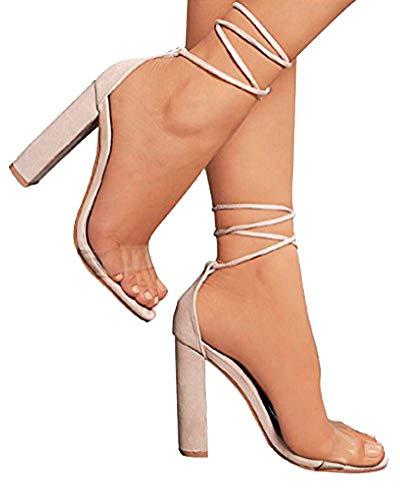 Minetom Sandalen Damen Riemchen Sandaletten High Heels 10 cm Party Blockabsatz Shoes Elegante Abendschuhe Übergröße Mode Schuhe Sommer Nackt EU 39