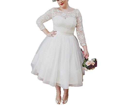 Tee-länge Brautkleid Spitze (Auxico Plus Size kurze Brautkleid Hochzeitskleid Vintage 3/4 lange Ärmel Spitzen Tee Länge Brautkleider (Weiß, 48))