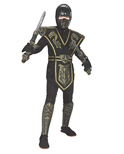 Horror-Shop Gold Dragon Warrior Ninja Kostüm für Kinder an Karneval - Ninja Warrior Kind Kostüm