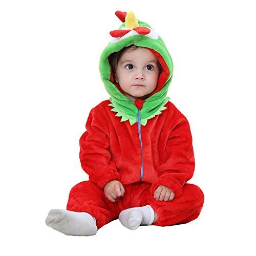 (Trayosin Baby Flanell Winter Strampler Bekleidung Jumpsuit Spielanzug Kapuze für Mädchen und Junge (Küken, 90cm))