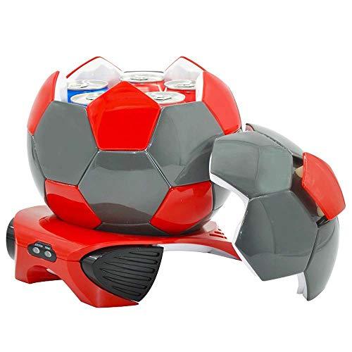 HNFYJQ 3.5L Fußball Kleiner Auto Kühlschrank, Kühler & Wärmer 2 Modi Auto Kühlschrank/Gefrierschrank, 12V-220V für Auto und Zuhause, Reisen und Camping,Red