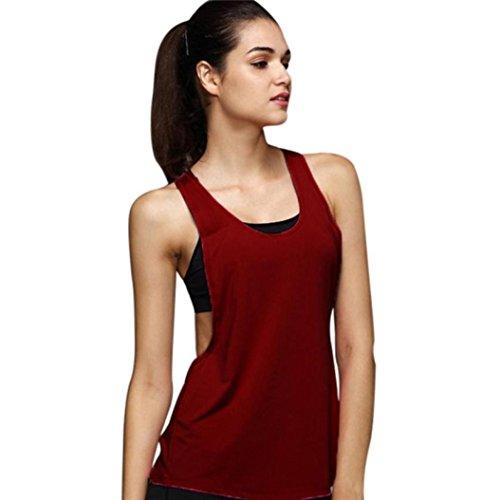 Tank Damen Tops Btruely O-Ausschnitt Weste Sport Top Lauf Bluse Elegant T-Shirt Yoga Shirt Partykleidung (S, Weinrot) (Rücken-tank Rüsche)
