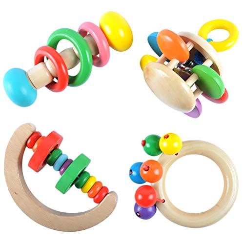 4Pcs Holz Rasseln Musical Educational Kinderbett Handglocke Rattle Spielzeug Handbell Kleinkinder Rasseln