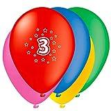 Unique Party- Globos Perlados de Látex para Cumpleaños Número 3, Paquete de 5, 30 cm (80203)