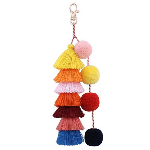 Borla Pom Pom Llavero Boho Charm Llavero, Accesorios Hechos a Mano de Moda para Las Mujeres Bolso/Bolsa/Coche decoración Colorida (E01)