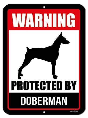 Vivityobert Warnschild mit Aufschrift Warning Protected by Dobermann, lustiges Hundeschild, Warnschild, Warnschild, Warnschild, Warnhinweis, Sicherheitshinweis, 8 x 12 cm