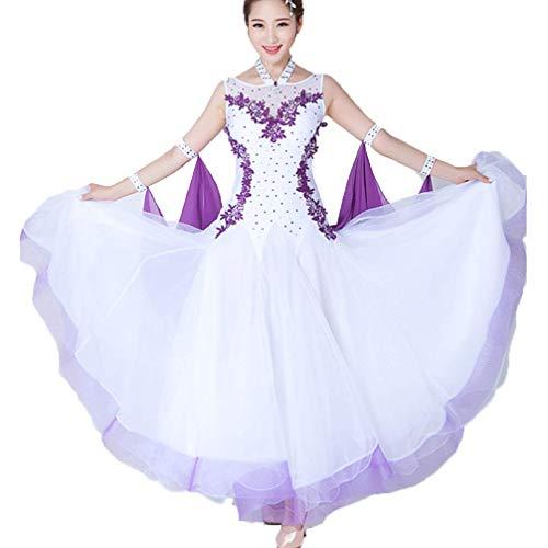 Wangmei Elegant International Standard-Bühnentanz-Kostüm für Damen Tango Wettbewerb Kleider Lust auf Garn Ballsaal Tanzen Kleid Elastischer Elasthan Big Swing,White,M (Red Tutu M&m Teen Kostüm)