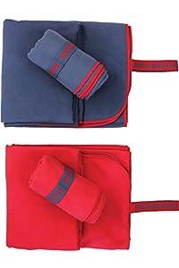 NORDKAMM Mikrofaser Handtuch Set mit OEKO TEX 100 ® Zertifikat, blau, ultraleicht, Microfaser Handtuch Reise 2er-Set: klein 50x100, groß 70x150