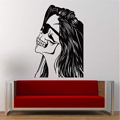 floolter Wandaufkleber Schädel Halloween Tod Teufel Frau Cooles Gesicht Wandtattoos Vinyl Mädchen Haar Brille Shades Swag Wandaufkleber Wohnzimmer Kunst Dekor 57x80cm