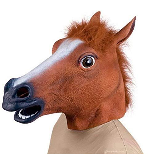 EisEyen Pferdemaske Halloween Maske Latex Tiermaske Pferdekopf Pferd Kostüm