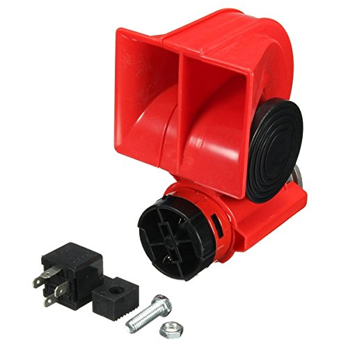 JenNiFer Dc 12V Red Twin Tone Air Blast Electric Horn Lautsprecher Steam Mit Relay for Motor Bike Car Boat -