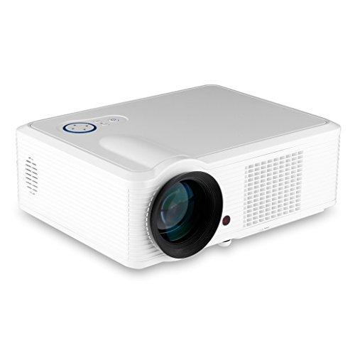 Excelvan 2000 lúmenes Proyector HD Home LED Multimedia Tv Digital Cine Teatro (850*540, HDMI, VGA, USB, AV, TDT, Blu-ray), Blanco