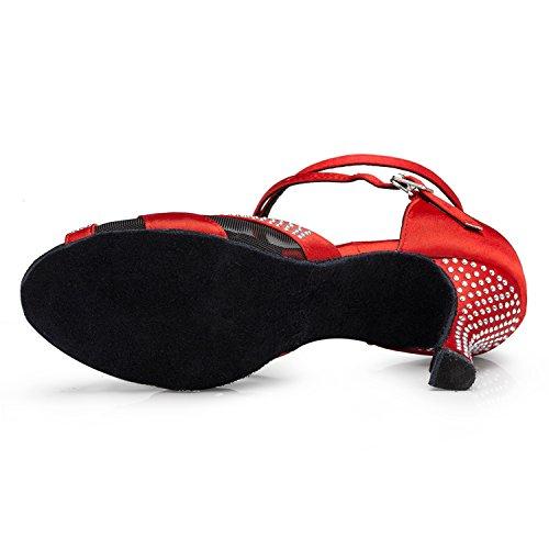 Vermelho Sapatos Minitoo Malha Dança Chiques Latino Sandálias Senhoras De PUp8UqHa