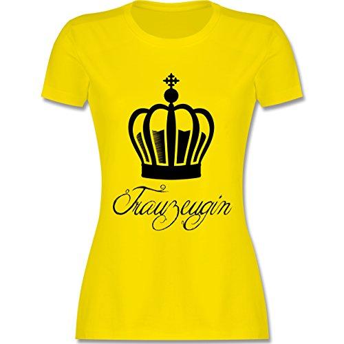 JGA Junggesellinnenabschied - Trauzeugin Krone - tailliertes Premium T-Shirt mit Rundhalsausschnitt für Damen Lemon Gelb