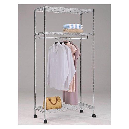 Garderobenwagen Rollgarderobe Garderobe mit 3 Ablagen und 1 Kleiderstange, verchromt, Sicherheitsdoppelrollen