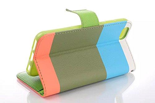 "inShang iPhone 6 Plus Coque iPhone 6+ 5.5"" Housse de Protection Etui pour Apple iPhone6 plus iPhone6+ 5.5 Inch, Cuir PU de premiere qualite, + inShang Logo Qualite Pens Haute Stylet capacitif Rainbow blue+green+orange"