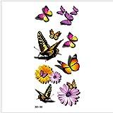 Colore 3D Carino Adesivi Per Tatuaggi Fiore Di Farfalla Fresco Piccolo Uomo Donna Body Art Decal Kit Adulti Indietro Accessori Per Braccio Torace Regalo Per Festival 19X9Cmx4Pcs, N