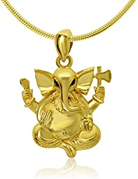 Shiyara Jewells Sterling Silver Calm Ganesh Pendant With CZ Stones For Women (PS00129)