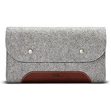 Pack & Smooch Accessoires Sac Small Case 100% Feutre De Laine Et Cuir Tanné Végétal Fait à La Main - Gris/Marron Clair