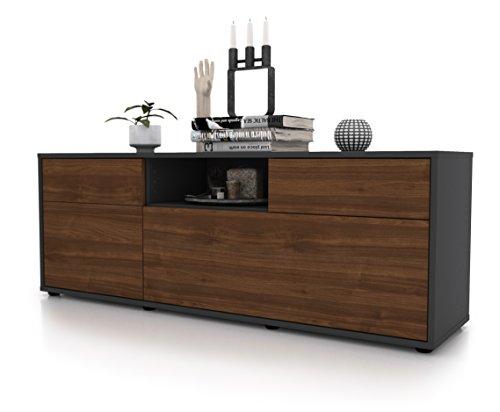 Zeit Möbel TV Schrank Lowboard Anita, Korpus In Anthrazit Matt/Front Im  Holz Design Walnuss (135x49x35cm), Mit Push To Open Technik Und  Hochwertigen ...