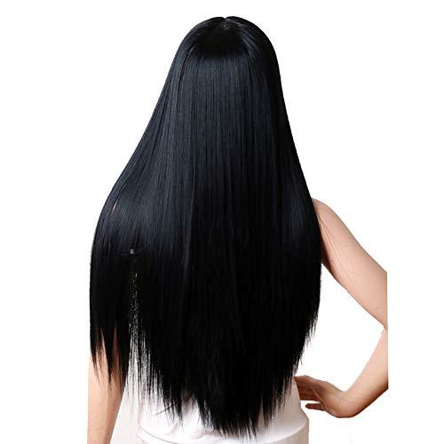 Qhj - parrucca di capelli sintetici, capelli lunghi lisci, colore: nero, a
