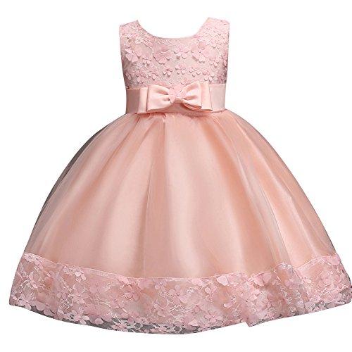 Qitun bambini abito ragazza bowknot vestito dalla principessa cerimonia senza maniche da sposa damigella d'onore abito pink 80cm/0-1anni