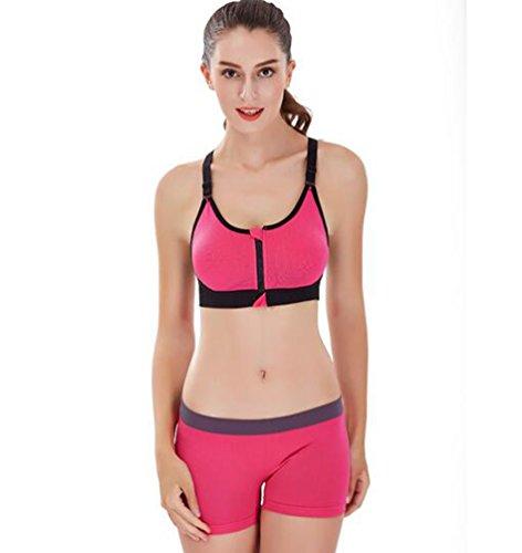 WanYang Femme Brassière Soutien Gorge De Sport Push up Underwear Bra Zip Fitness Yoga Jogging Rose