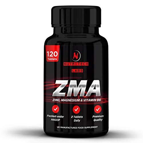 ZMA- Suplemento zinc, magnesio y vitamina B6- Triple Concentración 2500 mg- Aumenta los niveles de testosterona, promueve fuerza del músculo, recuperación, energía y un mejor sueño- 120 cápsulas (2-3 meses dosis)- por Nutritech Labs