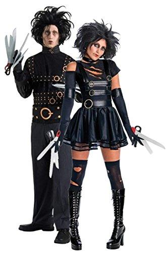 Herr SeXy Miss Edward mit den Scherenhänden Halloween Horror TV Film Tim Burton 1990 90's Jahre Kostüm Outfits Kostüme - Schwarz, Schwarz, Ladies UK 8-10 & Mens STD (Halloween Edward Mit Den Scherenhänden Kostüm)