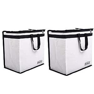 DOUBLE R BAGS Canvas Reusable Shopping Bags (Set of 2) (Black_DRR-Black)