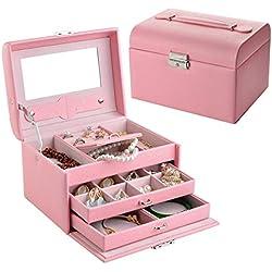 Joyero de NirongLavie de piel sintética en rosa