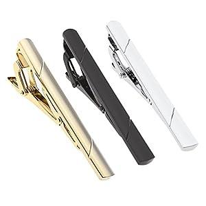 BOPREINA 3 Stücke Edelstahl klassische Herren Krawattenklammer Set Business Hochzeit Krawattennadel Tie Clip Set mit Geschenk-box, silber/gold/schwarz