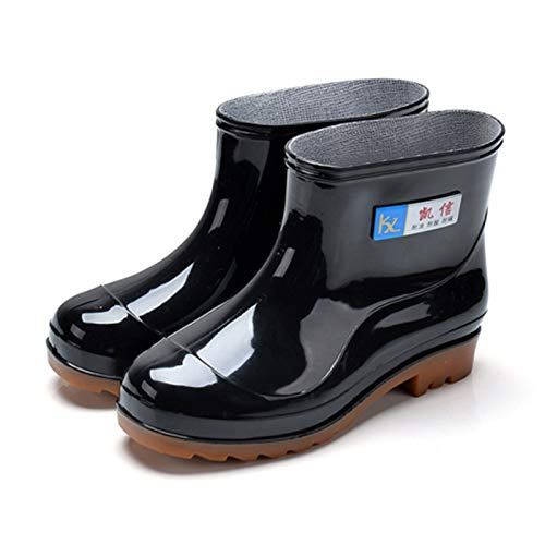 TENGGO Men Rain Boots Casual Non-Slip Breathable Waterproof Outdoor Slip On Ankle Boots-41