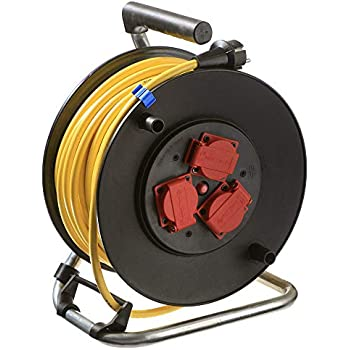 as Schwabe 10829 PRCD-Sicherheits-Kabeltrommel 285mm/Ø 40m H07RN-F 3G1,5 schwarz IP44 Gewerbe Baustelle