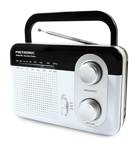 Metronic 477220 Radio portable FM Grandes ondes avec prise casque- Blanc et noir