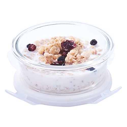 Easylock – Recipiente de almacenamiento de comida de cristal (400 ml, sin BPA, redondo)