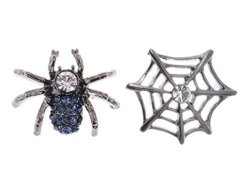 Alilang Gunmetal Spider Web CLEAR BLUE CRYSTAL STRASS Ohrringe ()