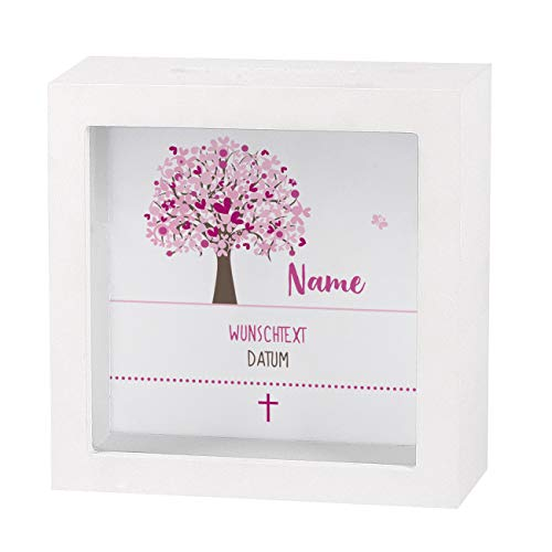 Striefchen® Spardose zur Taufe/Geburt/Kommunion/Konfirmation eines Kindes mit Namen und Geburtsdatum als Geldgeschenk Lebensbaum Mädchen