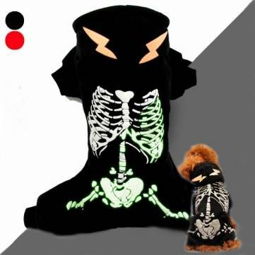 Winter-Welpen-Hundemantel Glow-in-the-Dark-Skelett-Muster-Haustier-Hund Overall-Mantel