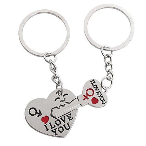 AIUIN Porte-clés Décor Pendentif Sac à main Modèles de couple Forme d'amour clé Pour porte-clés Créatif Cadeau Accessoires Décoration,Avec un sac à bijoux